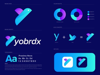 Yobrdx Logo Branding logo trend illustrator abstract 2d logodesign logo trends 2021 logotype branding concept branding design bird logo logo designer colorful logo gradient logo abstract logo lettermark monogram logo branding and identity brand identity modern logo branding agency