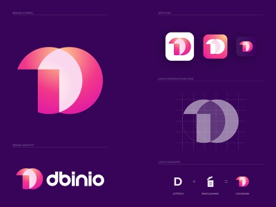 dbinio - brand identity design minimalist logo clean design cleaning logo bin illustrator letter d logo logo folio 2021 logo trends 2021 2d logo abstract logo gradient logo logo designer lettermark logo design monogram logo logo and branding branding and identity brand identity modern logo branding agency