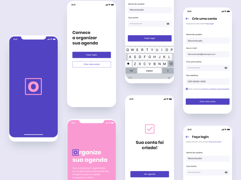 App Organize - Conceito ui design mobile ui register form brasil concept