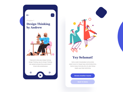 Course App flat minimal branding ui illustration design ui design typography learning course app