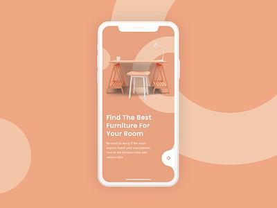 Furniture Mobile App Onboarding 3d illustration uidesign ui design uiux ui