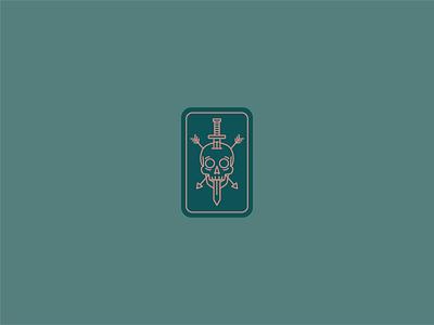 Tuff Skull arrow sword skull design icon vector logo branding illustration