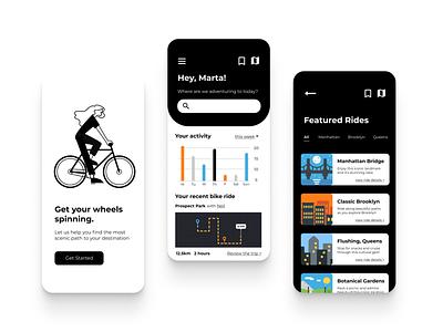 Pedal bike ride bike design app app design vector ui ux illustration
