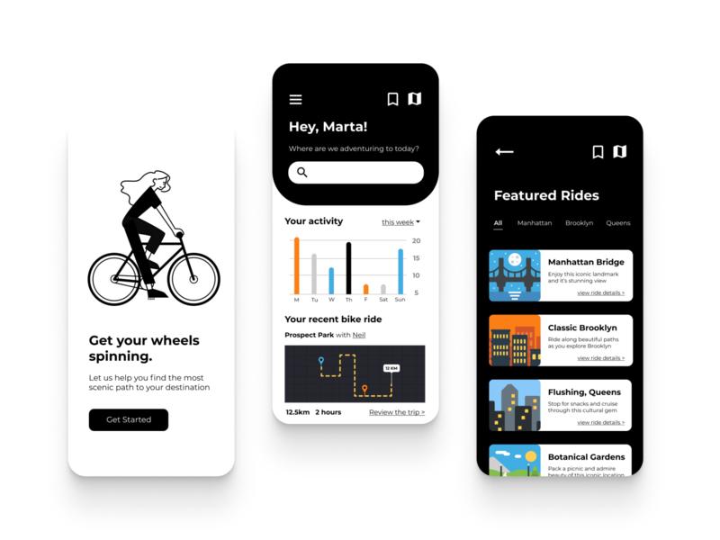 Spin bike ride bike design app app design vector ui ux illustration