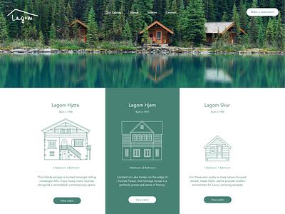 Lagom Cabins hotel cabin ux web branding ui illustration