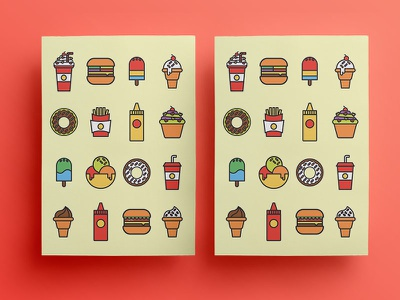 Burger Lab burger cupcake donuts milkshake icecream catsup mustard illustration graphic design icons restaurant french fries