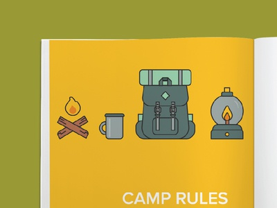 Win Guidebook 2015 fire camp bag shots guidebook book magazine layout graphic design flat illustration