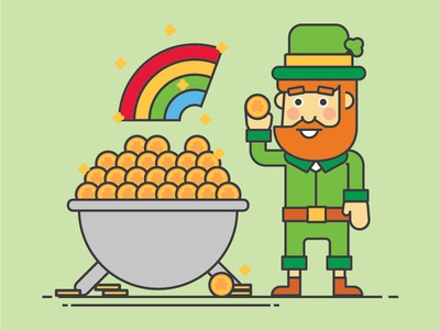 St. Patrick's Day clover four clover leaf coin gold pot of gold rainbow leprechaun gymboree