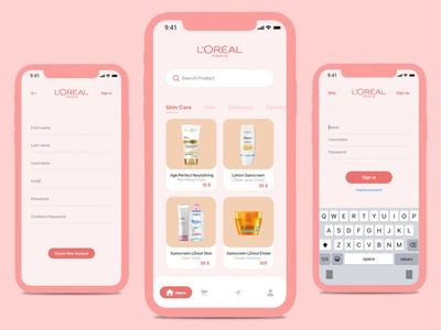 Loreal Ecommerce App clean design ux  ui mobile app design mobile ui mobile app ecommerce app