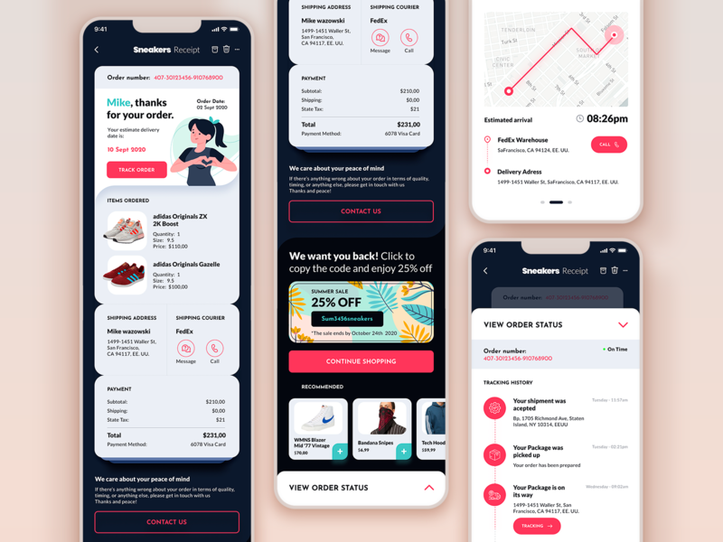 #DailyUI #016 · Pop-up / #017 · Receipt / #20 · Tracker modern simplicity mobile app figma track order popup receipt tracking app concept vector ux ui uxdesign uidesign startup mobile clean minimal aplication app
