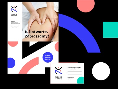 Mocna postawa fizjoterapia poster design poster minimalism modern simple symbol circle shape logo blue illustrator icon typography branding identity design vector