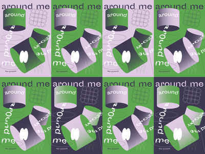 Around me illustrator vector purple poster a day green posters poster typography