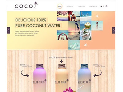 COCO coco water branding coconut water web design package design