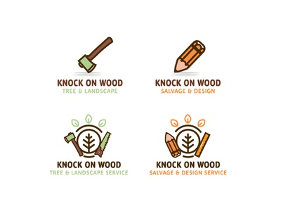 Knock On Wood salvage design landscape tree wood logo