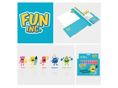 FUN inc. toys monster fun kids packaging stationery branding