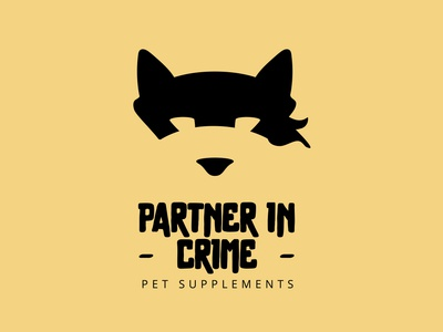 Partner In Crime packaging naming identity crime partner dog pet animal logotype vector illustration logo branding