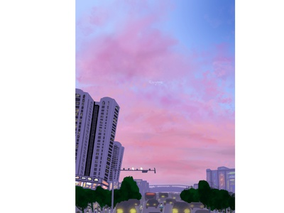 Sunset Glow flat daily dribbbble procreate scenery dribbble best shot illustration