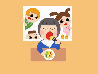 Lucky's daily life colors daily friends design character character design 2d painting food procreate illustration dribbble best shot
