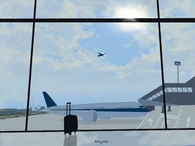 Airport painting dribbbble trip travel airplane airport 2d chinese daily illustration procreate dribbble best shot