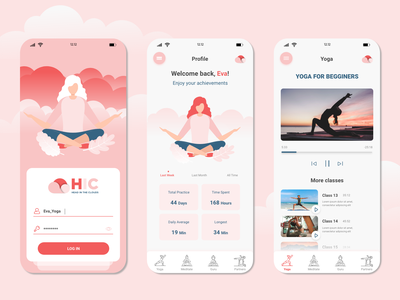 Head in the Clouds - Yoga & Meditation App Concept ui design app inspo app inspiration meditation app yoga app app ui design app ui ux app design app ui ux ui