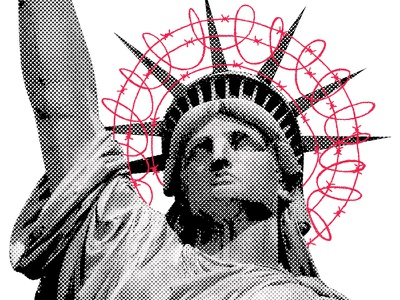 Immigration barbed wire america usa immigration statue of liberty