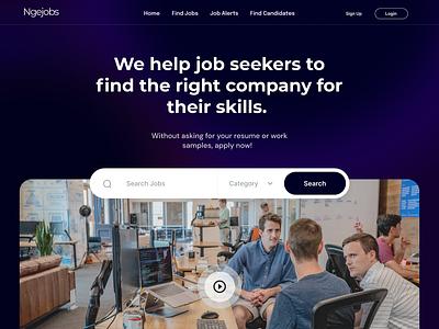 Ngejobs - Hero Landing Page jobsfinder jobs finds motion graphics graphic design 3d animation logo branding illustration mobile app mobile design agency website agency ux ui design