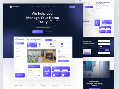 SmartHum -  Landing Page 😁 smarthome web design home smart logo branding illustration mobile app mobile design agency website agency ui ux design