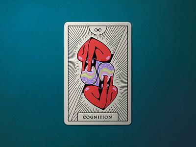 Tarot ∞ divination arcana love brain cognition mind heart vector mystic illustration card design cards card tarot