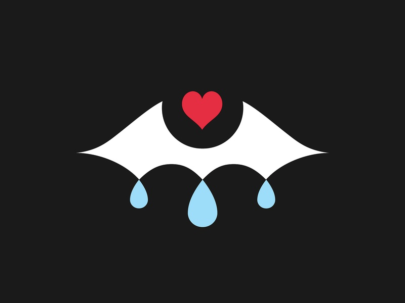 Crying Eye design logo symbol minimalist vector illustration vector romance love heart tears eye