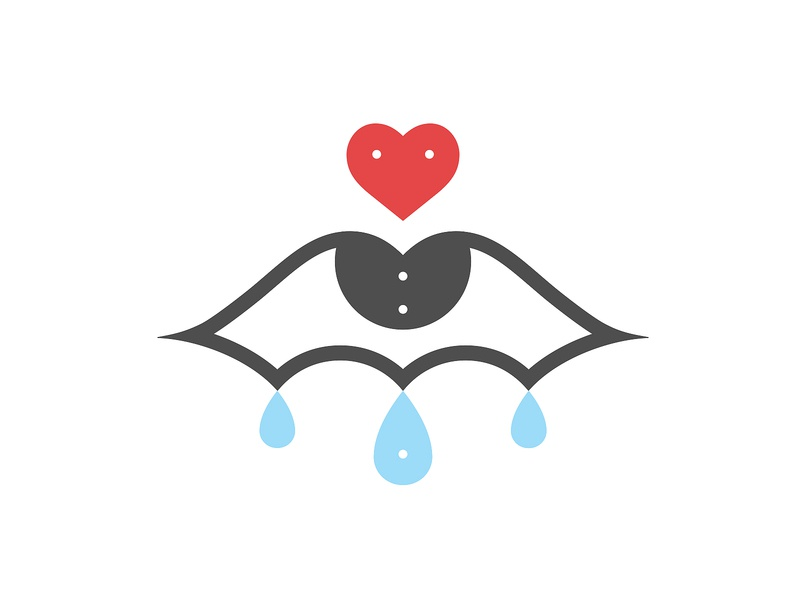 Crying Eye 2 drops romance eye tears heart vector logo illustration design