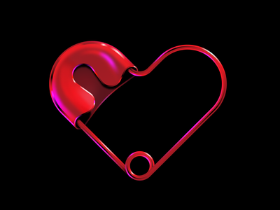Heart Pin illustration design valentines day red vector glossy metal love heart pin