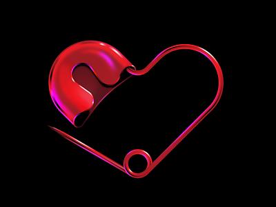 Heart Pin vector love symbol metal red illustration design pin heart