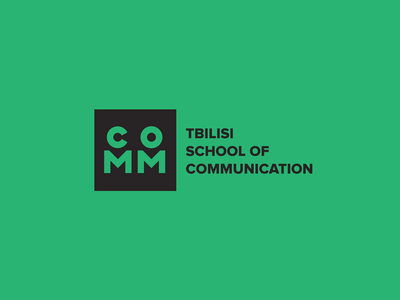 COMM School branding typographic logo type design minimal square communication school logo school