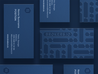 Brokers.IO ID Cards mockup visual identity blue blockchain identity card branding logo typography design
