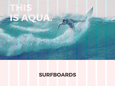 Aqua Surf One pager modern white clean desktop. sleek responsive grid web design one page
