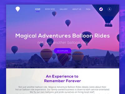 Magical Adventures Balloon Rides flat minimalist responsive desktop user interface ui ux web design