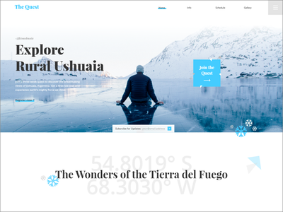 Ushuaia Landing Page blue cold cool vacation trip quest winter visual clean responsive web design landing page