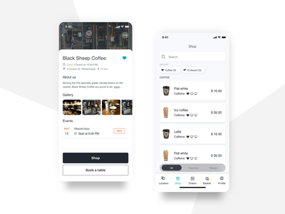 Food and drink e-commerce product list restaurant food and drink e-commerce black  white ux ui design mobile app ios