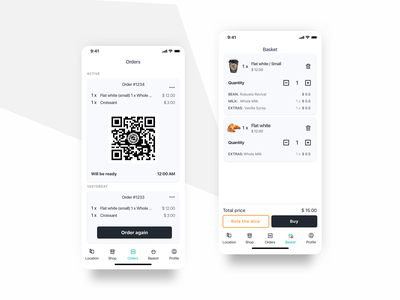 Ordering experience in mobile e-commerce. ui design ux design food and drink basket orders qr code shop e-commerce black and white mobile app design mobile ios