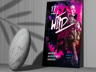 WILD NIGHT PARTY FREE FLYER TEMPLATE free psd flyer templates flyer free event flyer flyer template flyer flyer psd free flyer template template free