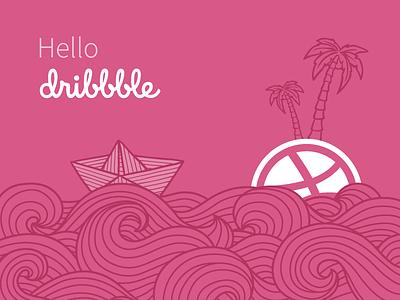 Hello, Dribbble! pink sea island ship invite hello first dribbble debut