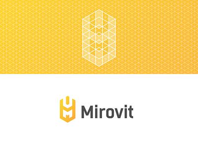 Mirovit logotype farm brand geometry logo identity grid line branding sign grid wheat agriculture
