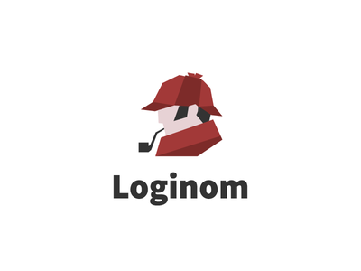 Sherlock deduction analytics character branding flat red logo sherlock holmes loginom logotype holmes sherlock