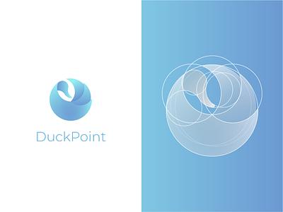 DuckPoint Logo construct bird gradient brand logotype blue design process duck logo branding