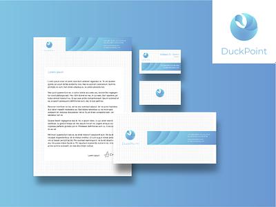 Corporate identity for DuckPoint business card envelope identity corporate gradient blue bird brand logotype logo branding