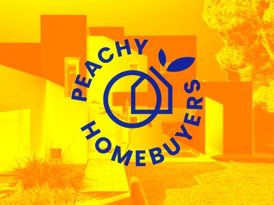 Peachy HomeBuyers icon orange design logo circle coupon price tag minimal lines abstract peachy peach leaf house branch popular shot geometry art graphic