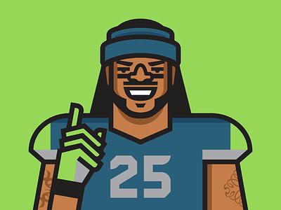 Richard Sherman nfl sports football illustration espn richard sherman seattle seahawks portrait vector athlete
