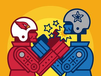 Rock 'Em Sock 'Em nfl sports football illustration espn cardinals cowboys rock em sock em robots vector editorial
