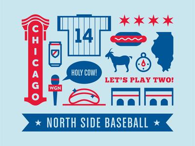 North Side Baseball  chicago north side baseball cubs vector screen print mlb