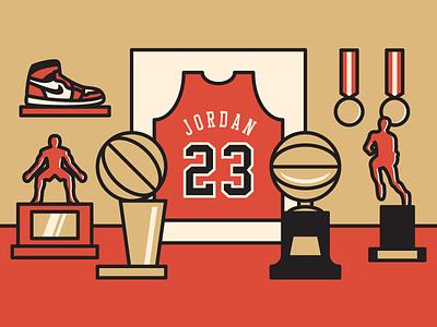 Michael Jordan michael jordan chicago bulls chicago bulls basketball nba vector illustration trophy trophy room sports